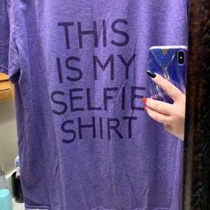 Size Large Purple Selfie Shirt Graphic Tee Cute